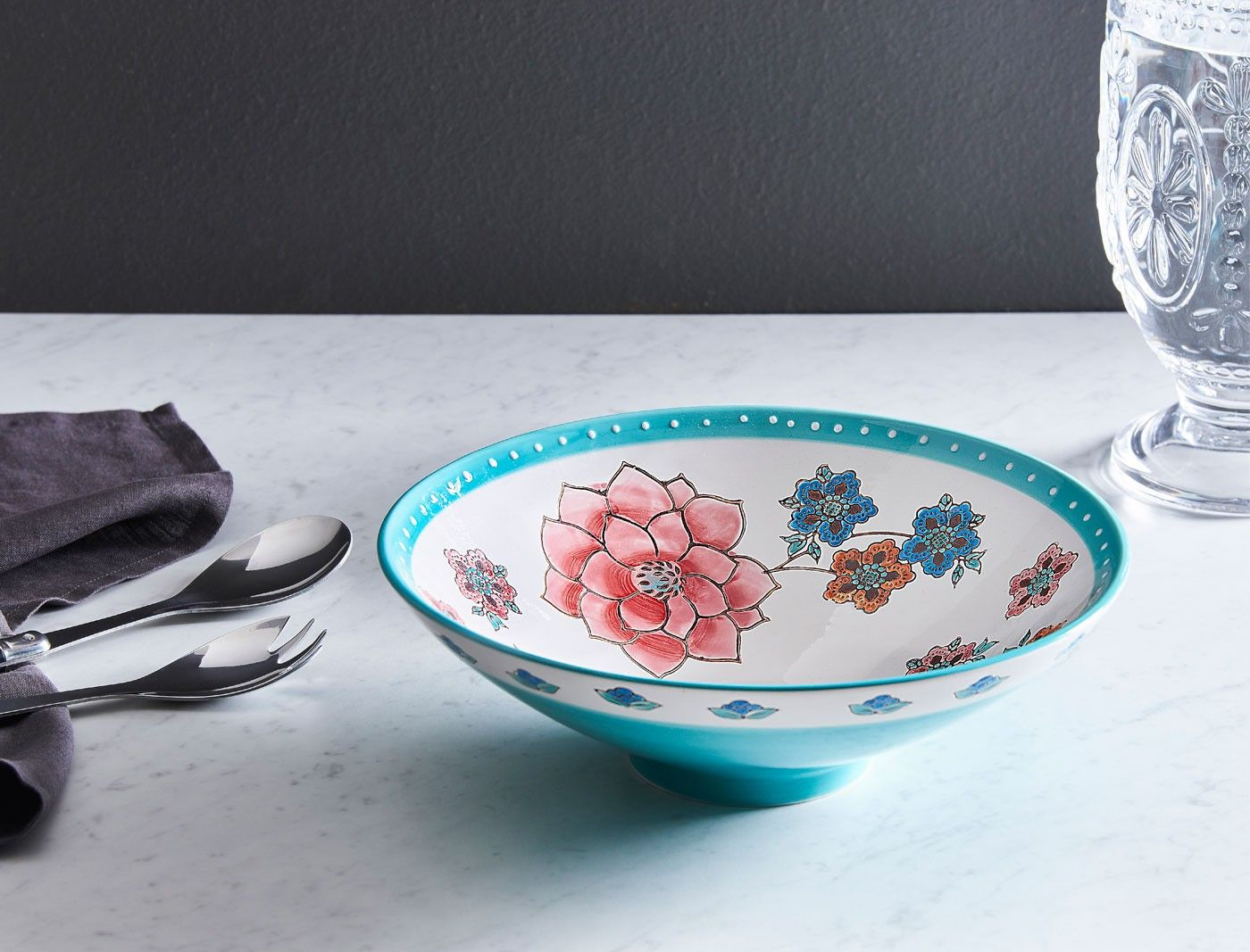 Florentino Tango Tango Flared Bowl Floral Pink Aqua Bowl Everyday Essentials Products Decorative Bowls