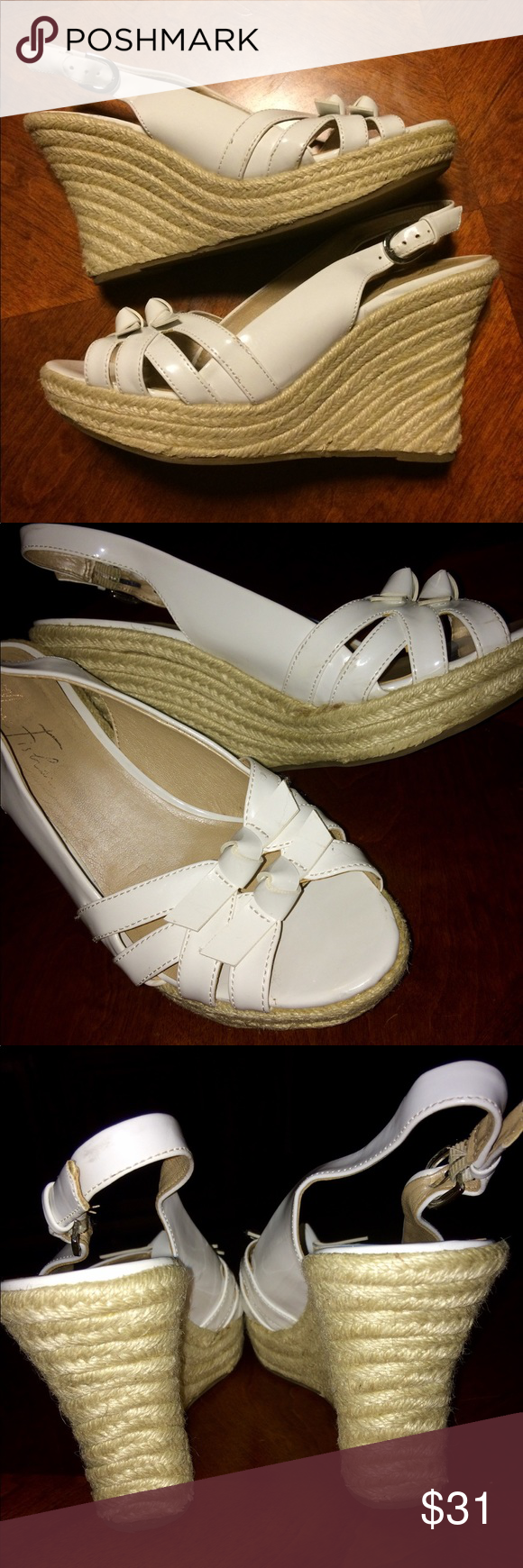 Marc Fisher Wedge White Sandals Marc Fisher White Wedge Sandals Great For Easter So Cute Has S Womens Sandals Wedges Marc Fisher Shoes White Wedge Sandals