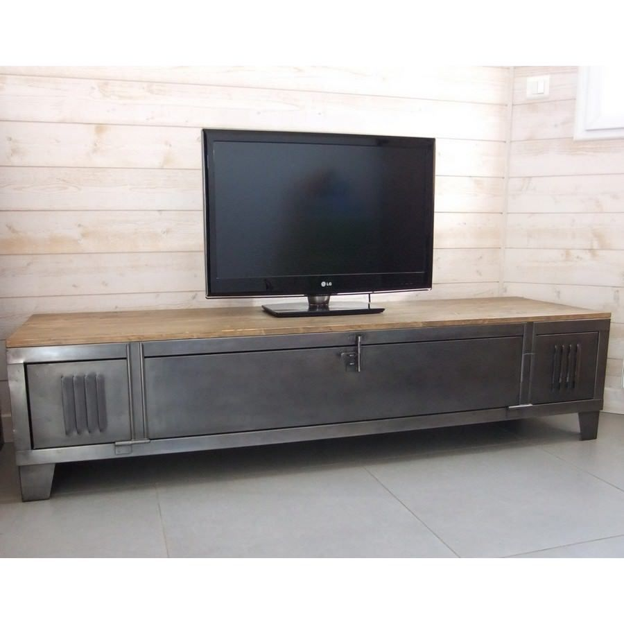 Ancien Vestiaire D Atelier Transform En Meuble Tv Industriel  # Table Tv Plasma Moderne En Verre