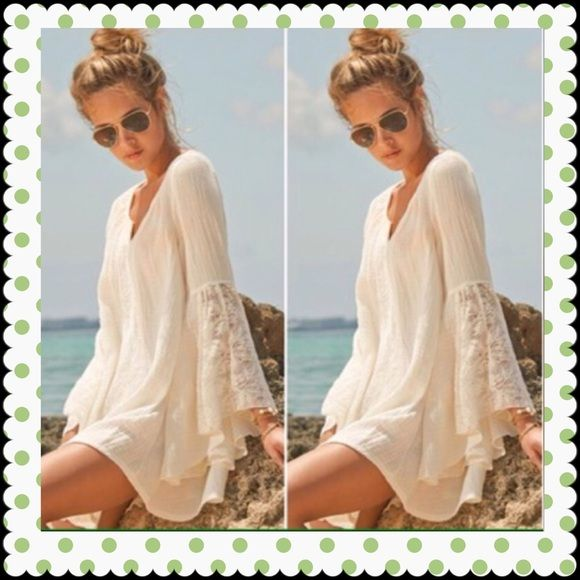 Nohow gypsy hippie mini dress chiffon bell sleeves All of my items are brand new in a sealed bag. 30 % discount on bundles Dresses Mini