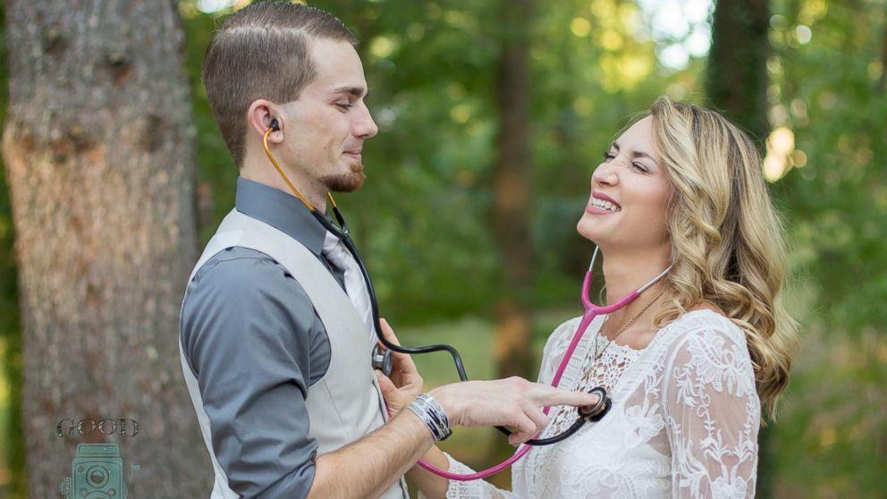Bride and Groom Nurses Sport Stethoscopes in Sweet