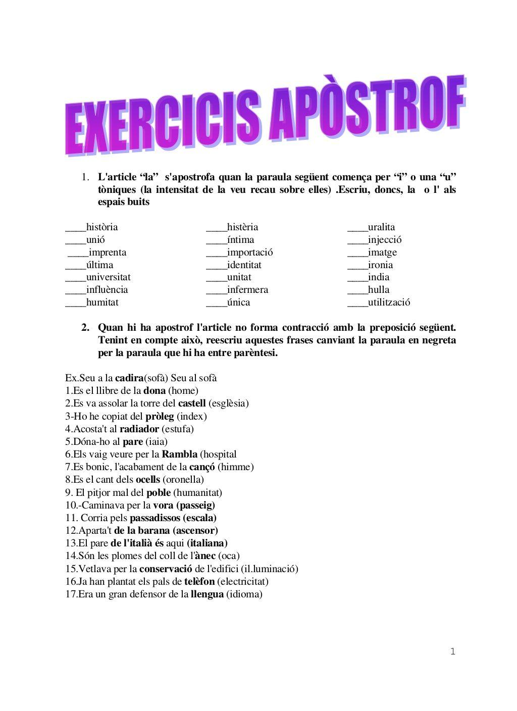 Exercicis Apòstrof Ortografia Catalana Mejorar La Letra Lengua Catalana