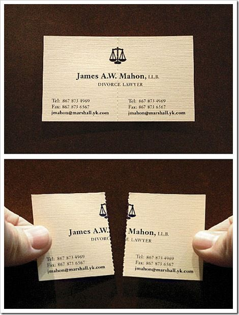 Divorce attorneys unique if done before business card cant divorce attorneys unique if done before business card cant work out if this is genius or in bad taste reheart Gallery