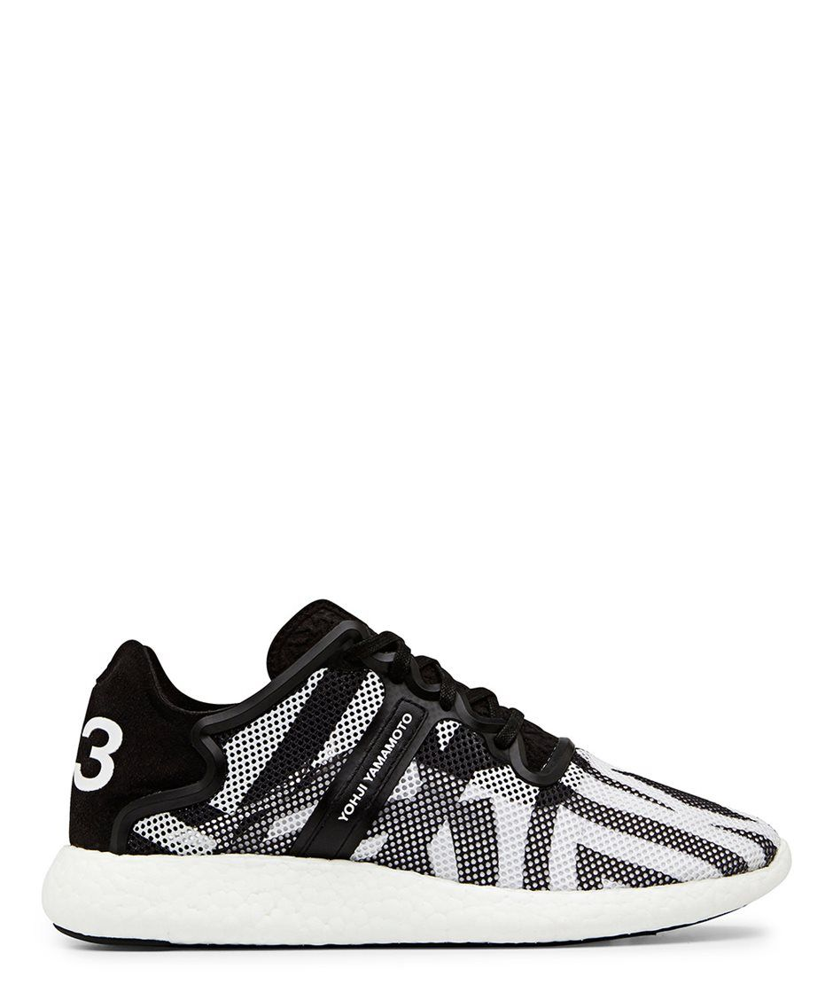 7f5e3c78ea98f Y-3 Yohji Boost Black and White Mesh Low Top Sneaker