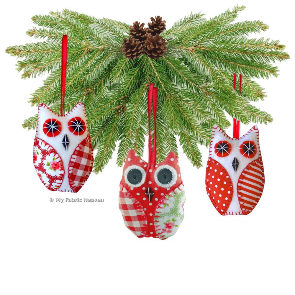 OWL Christmas Tree Decoration Ornament Fabric Sewing PATTERN