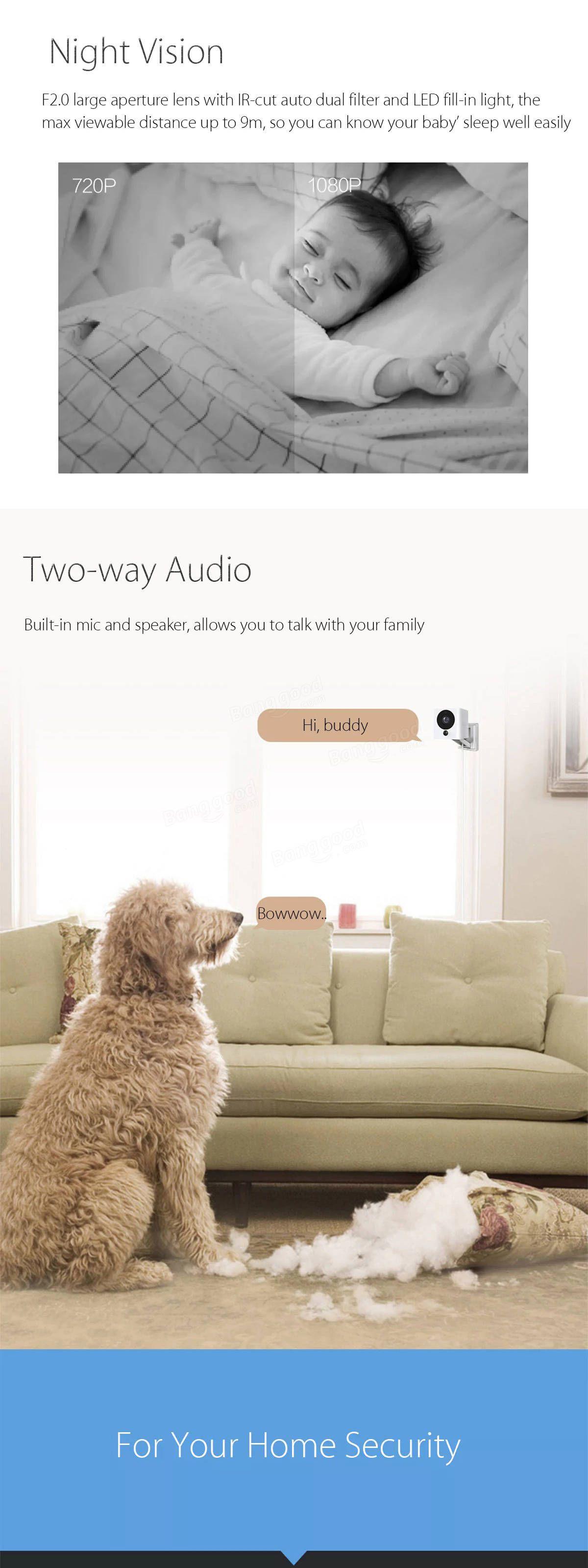 Original Xiaomi Mijia Xiaofang Smart Home Wifi Ip Camera 110 Degree Cctv 1080p With Night Vision Fhd Ir Cut