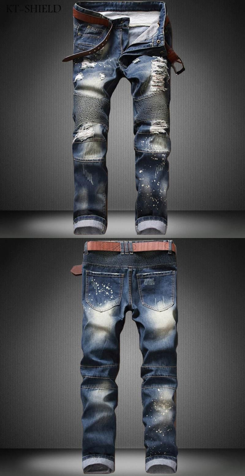 Skinny Jeans Mens Casual Trousers Pantalon Mezclilla Hombre Ripped Joger Riped Distressed Denim Motorcycle Moto Hip Hop Jogger