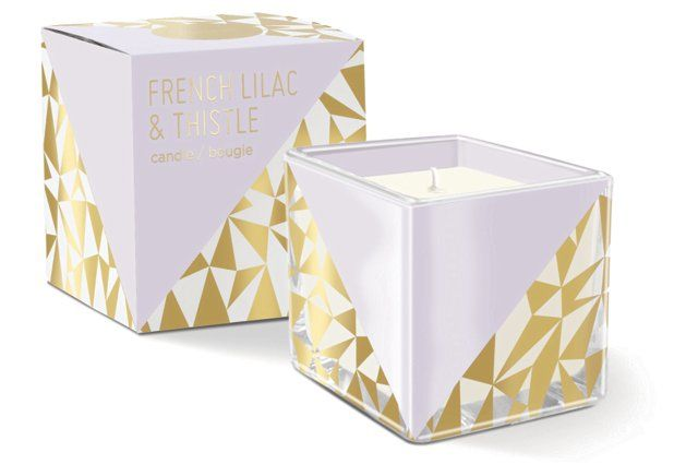 S/2 Cube Candle, French Lilac/Thistle