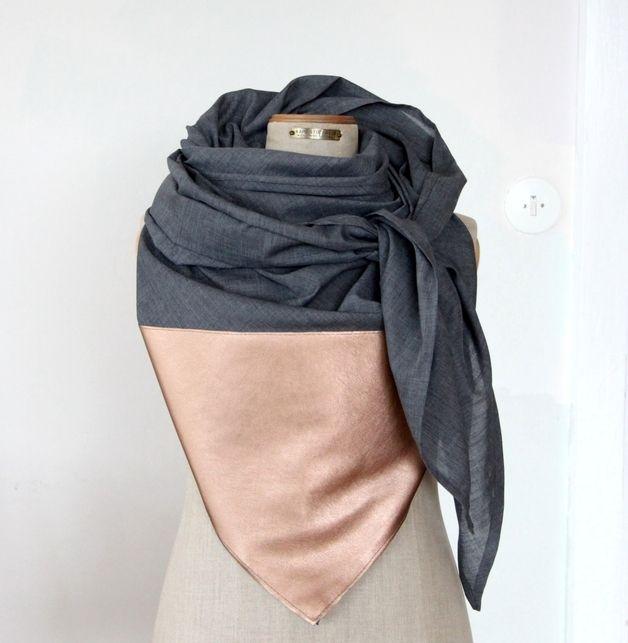 herbst und wintertrend halstuch mit leder bronze und grau colourblocking scarf concrete. Black Bedroom Furniture Sets. Home Design Ideas