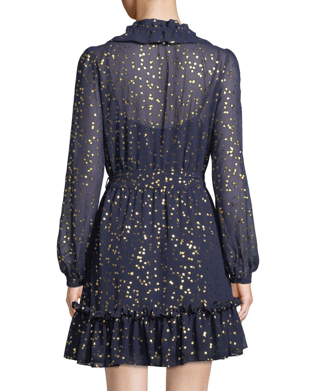 664a8372d0ac4c Michael Michael Kors Foil Star Chiffon Mini Dress | Products ...