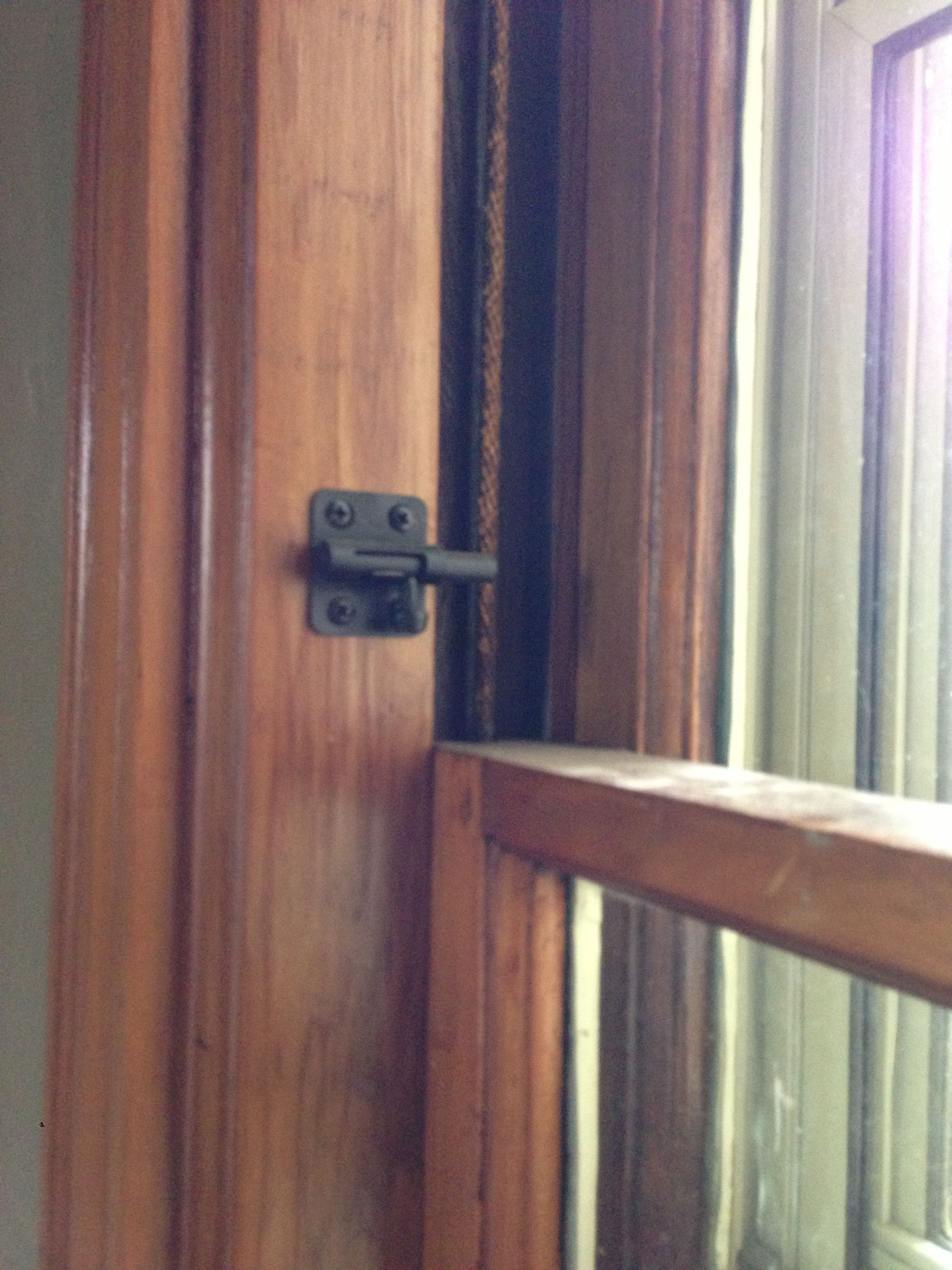 On our first floor we installed 2 inch door latches on the window frame for security. Works as a window stop and no one can lift our windows higher than the ... & On our first floor we installed 2 inch door latches on the window ... pezcame.com