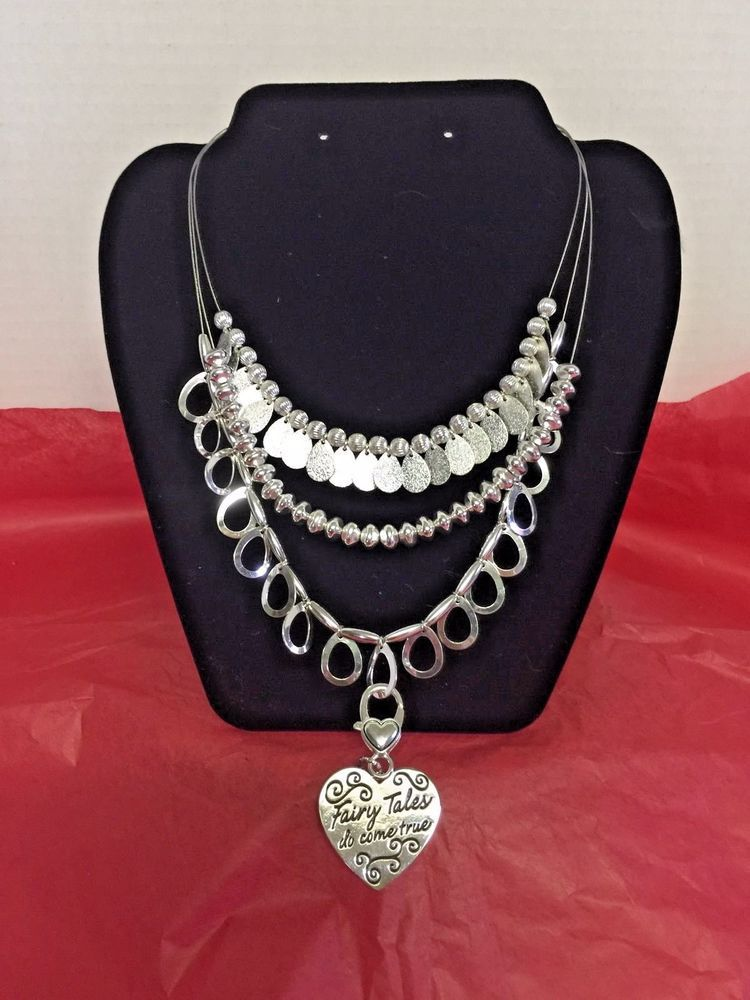 Necklace Heart Jewelry Silver Layered Ladies Fairy Tales Do Come
