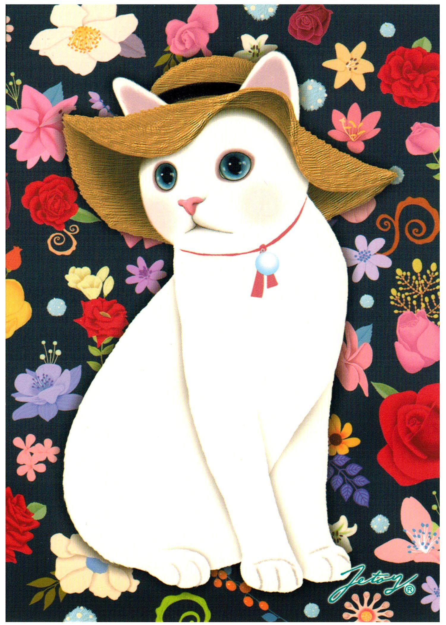 Jetoy Choo Choo Cat Postcard: Flower Garden