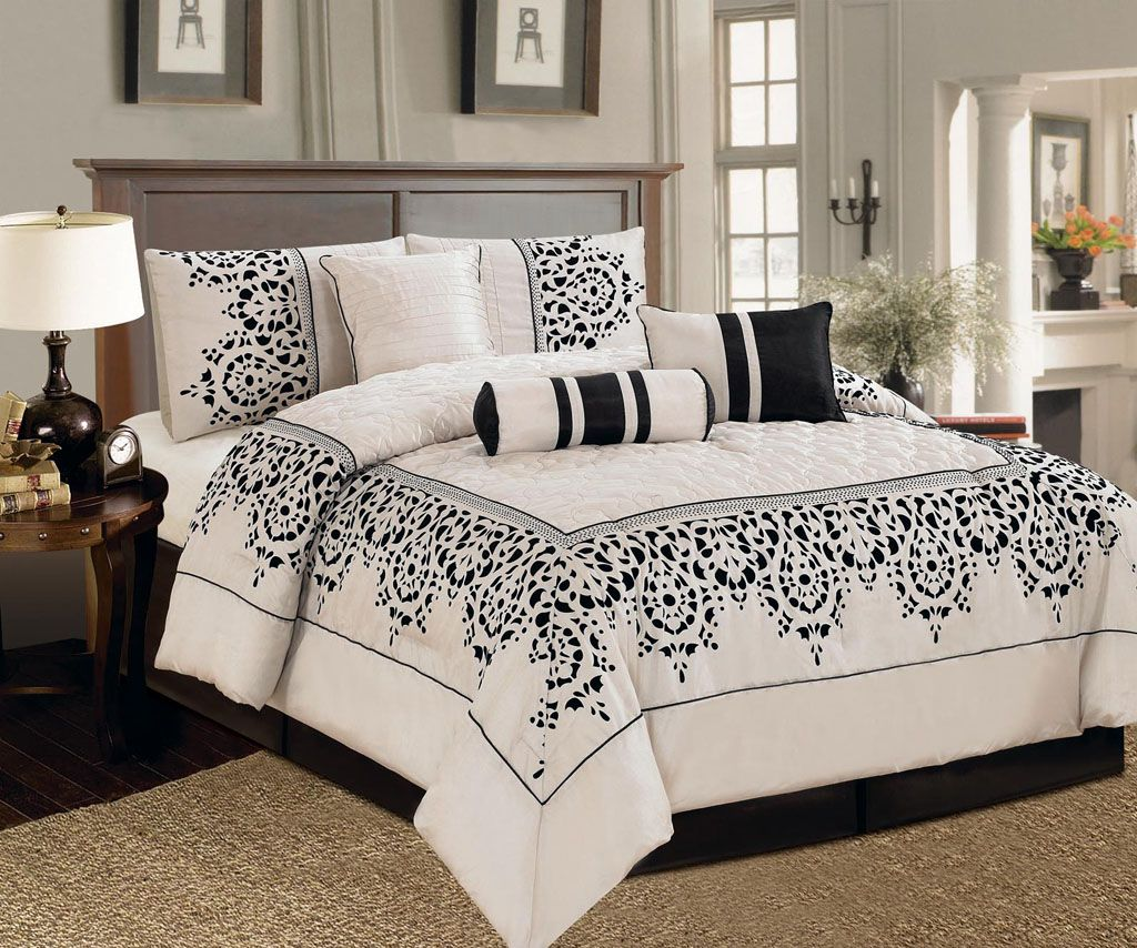 Best 7 Piece King Corak Black And Ivory Comforter Set Bedroom Furniture Sets Bed Linens Luxury 640 x 480