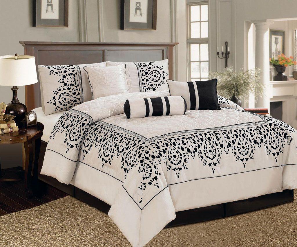 black and ivory comforter set