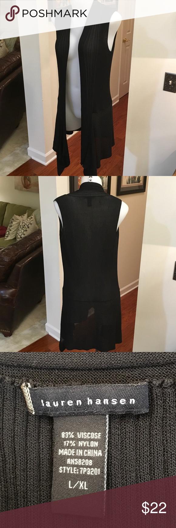 Lauren love Long black sweater vest by Lauren Hansen size large ...