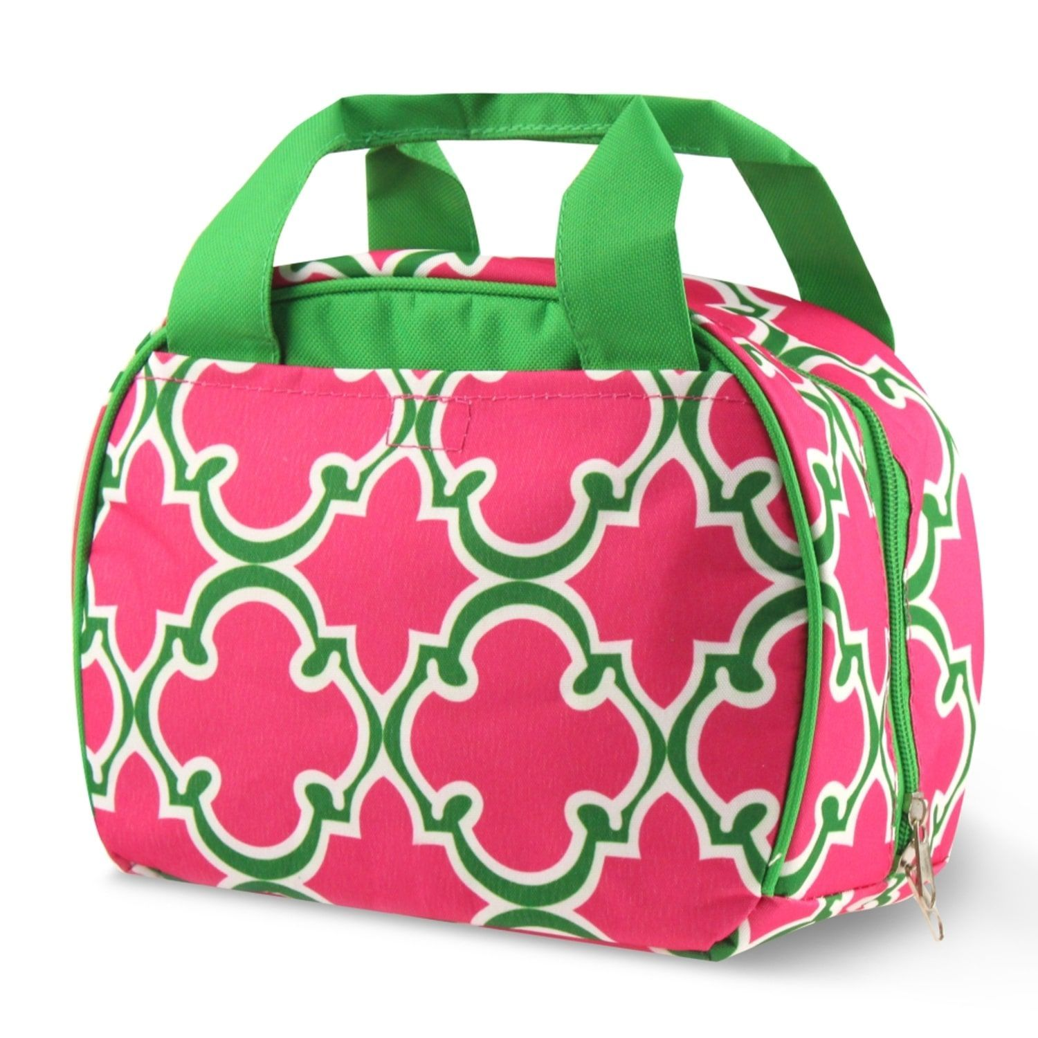 Zodaca Round Quatrefoil Stylish Small Reusable Insulated Work School Lunch Tote Carry Storage Zipper Cooler Bag