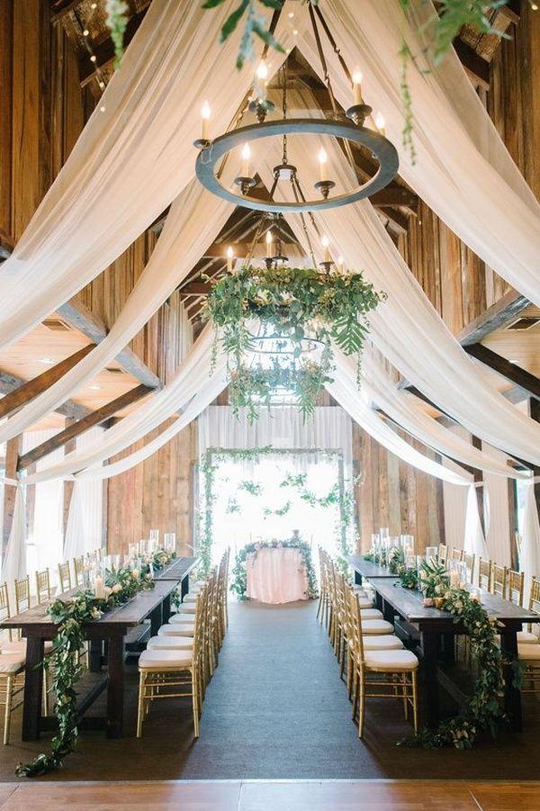 30 Rustic Barn Wedding Reception Space with Draped Fabric Decor Ideas #barnweddings