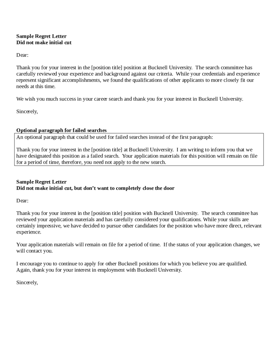 Rejection Email Template After Making Decision Job Interview