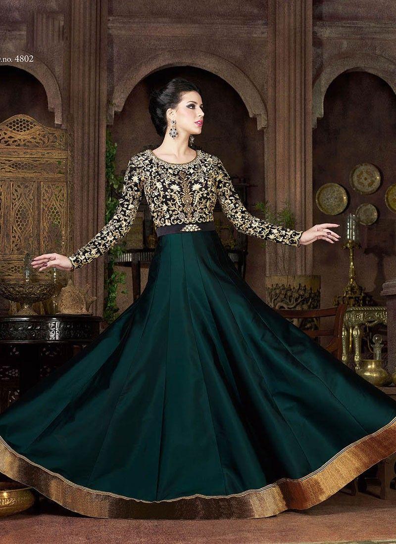Teal Blue Wedding Wear Pakistani Floor Length Anarkali Suit In Silk
