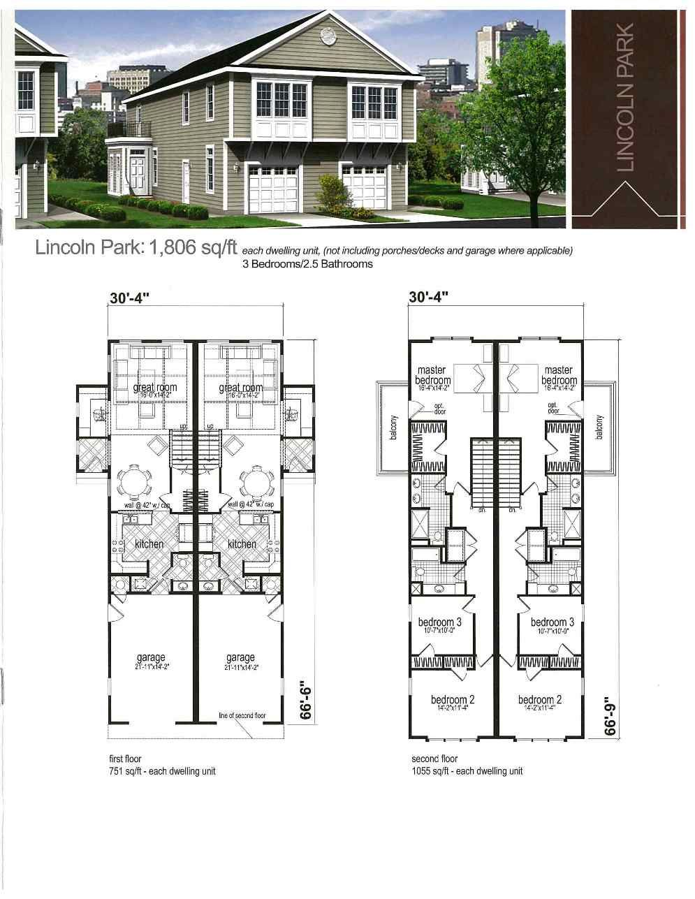 Duplex Plan Apartment Garage Apartments Plans Townhouse Design