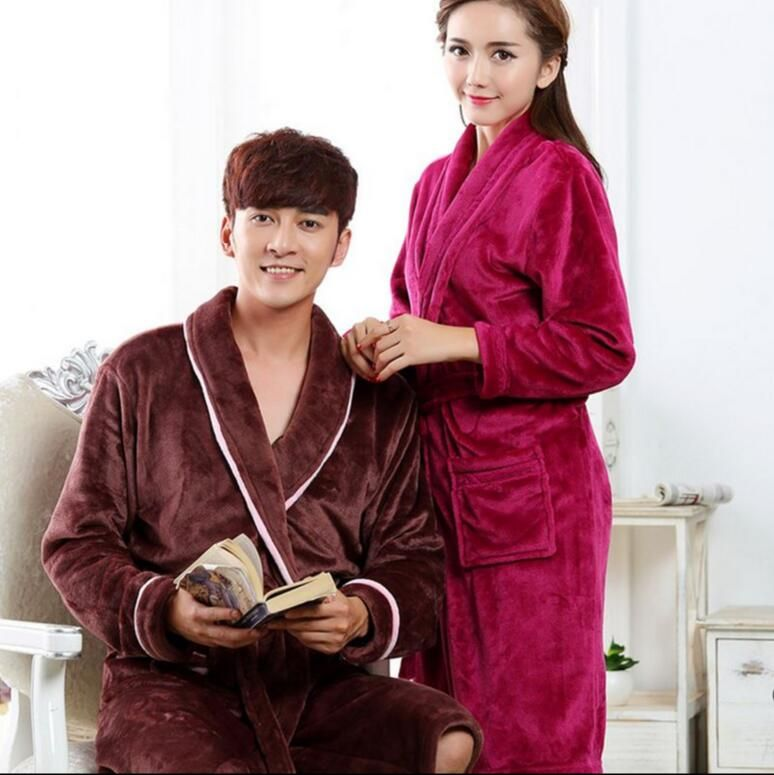783ef6c48a Couple autumn and winter flannel nightgown men and women thick bathrobes  mens bathrobe winter clothes in the long section