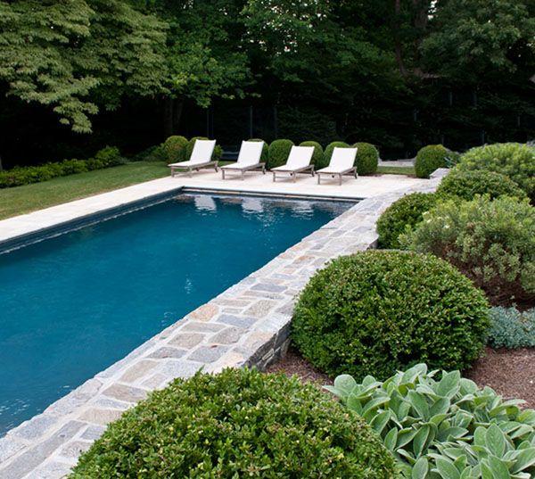 Backyard Terrace Garden Inground Pool Stone Deck Jardines Patio Diy
