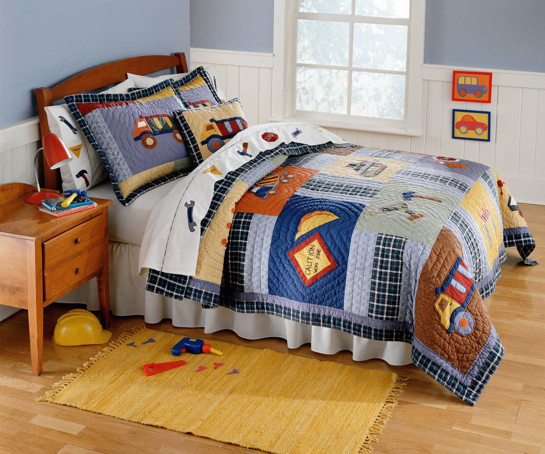 Construction Time Bedding for Boys Twin Size 2pc Quilt Set Kids
