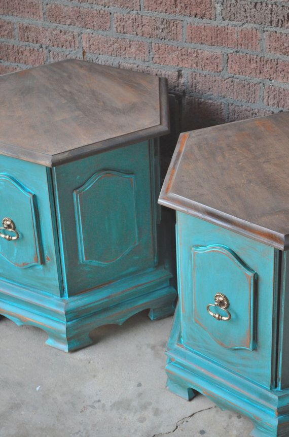 Mirror And Painted Bedside Table: Vintage Painted Bedside Tables Side Tables End Table