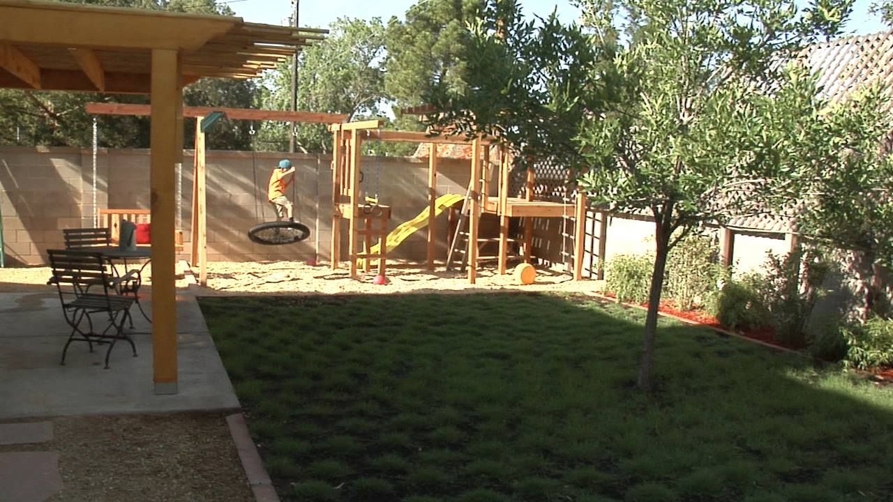 backyard diy playground fun for kids slide swing pull up bars