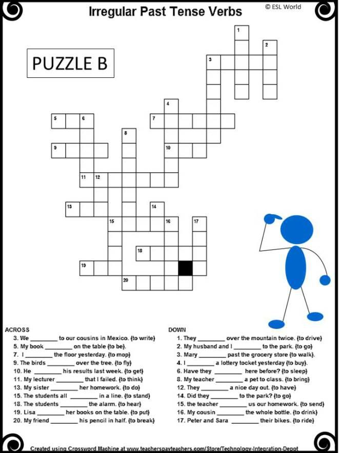 Irregular past tense verbs crossword puzzles with key
