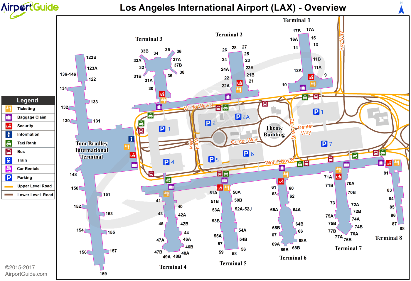 airports around los angeles map Los Angeles Los Angeles International Lax Airport Terminal Map airports around los angeles map