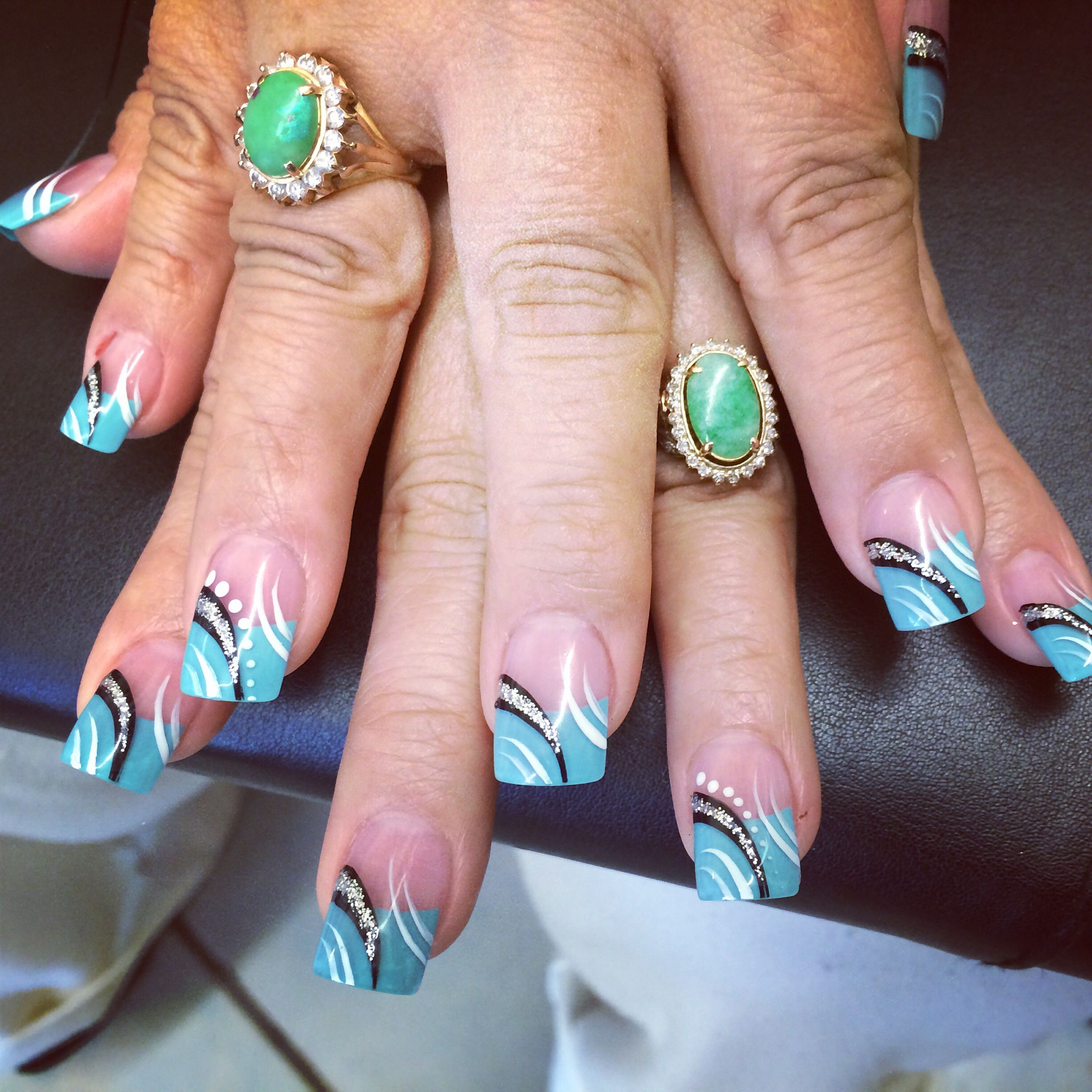 Solar Nails With Teal Blue Tips And Nail Art Designs