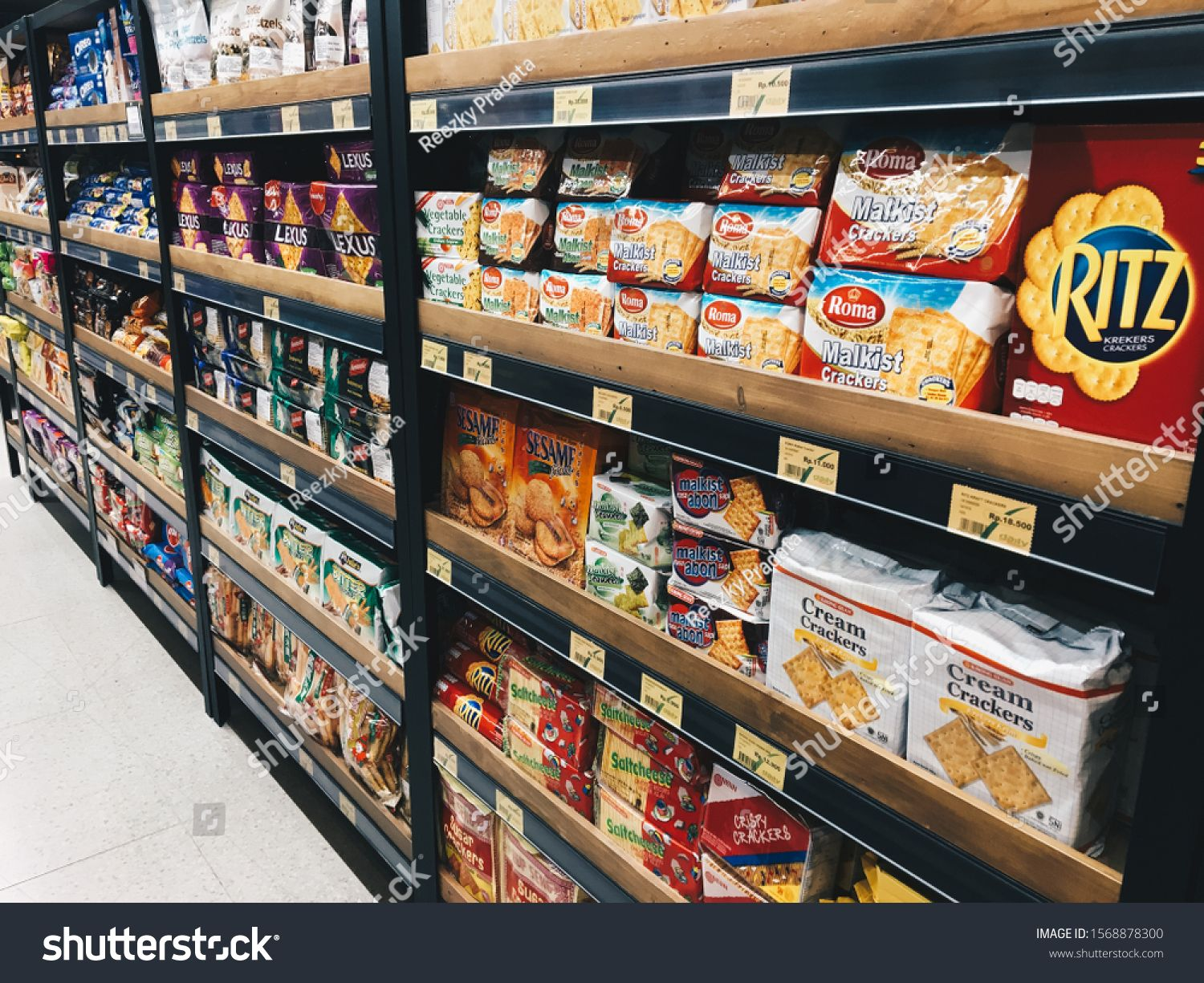 Jakarta Indonesia October 2019 Variety Brand Of Snack Food In Indonesia On Display Rack At Supermarket Sh Cream Crackers Supermarket Shelves Snack Recipes