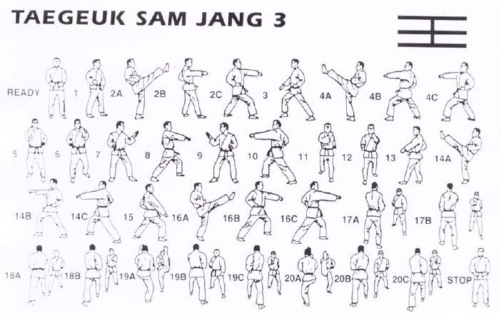 Taegeuk Sam Jang - 20 Movements - This poomsae is based on the concept of  Ri which means fire and the sun. The movements of this poomse must emulate  the ...