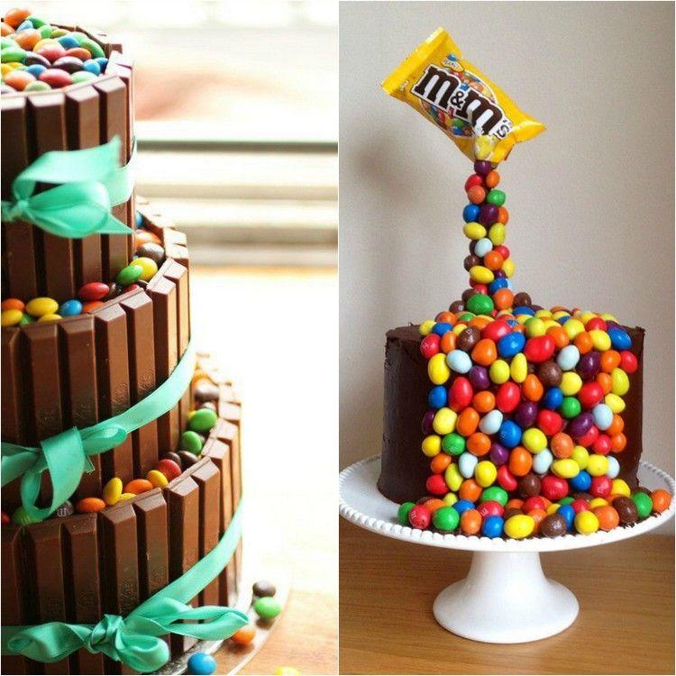 gteau de bonbons suspendu ou gravity cake et dco avec des drages multicolores et barres de
