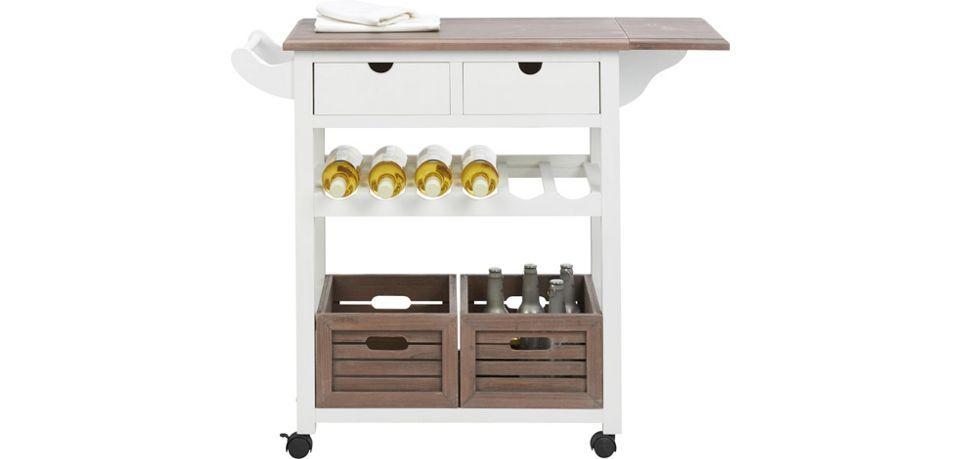 Küchenwagen in Weiß mit Holz Cookie - Braun/Weiß, Holz/Holzwerkstoff - küchenwagen mit schubladen