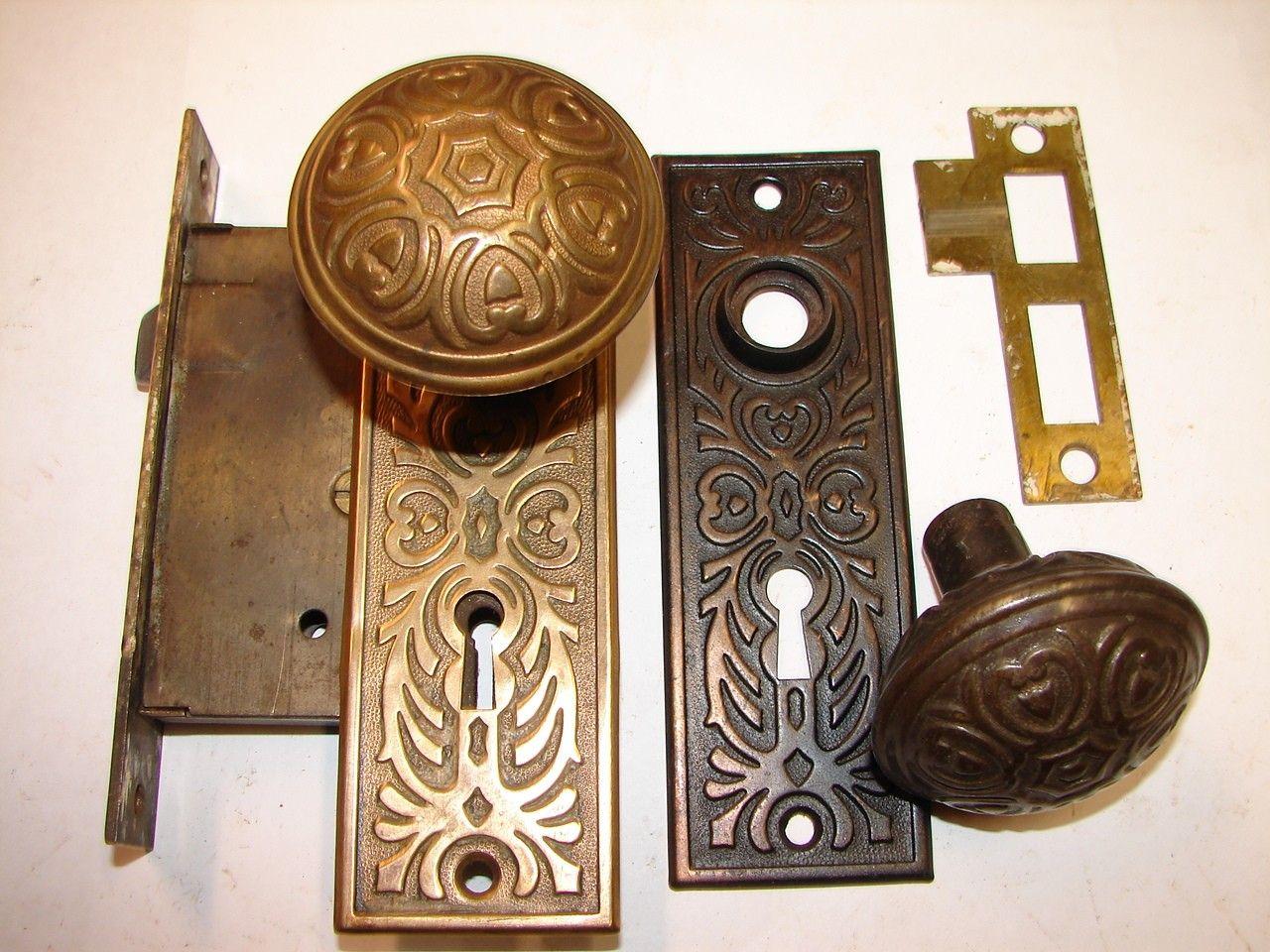 Fancy Victorian Door Knob Key Plate Antique Brass Old Escutcheon Door Knob Key Plate Old Hardware