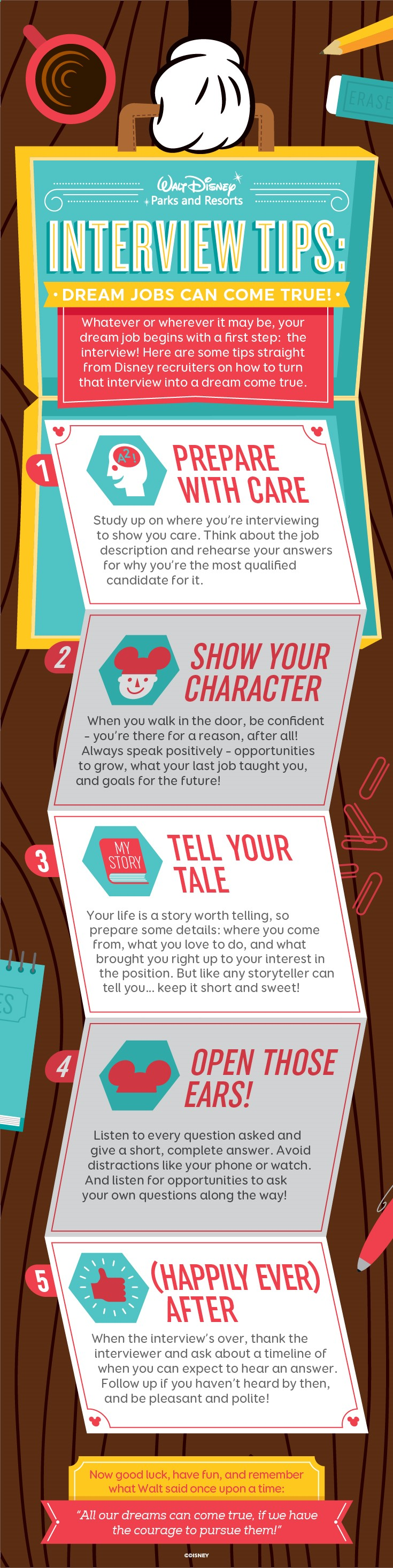 Whatever or wherever it may be, dream jobs can come true! Check out these tips from Disney re…   Consejos para entrevistas, Entrevista de ...