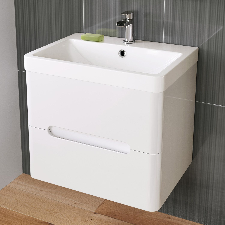 600mm Tuscany Gloss White Double Drawer Basin Unit - Wall Hung ...