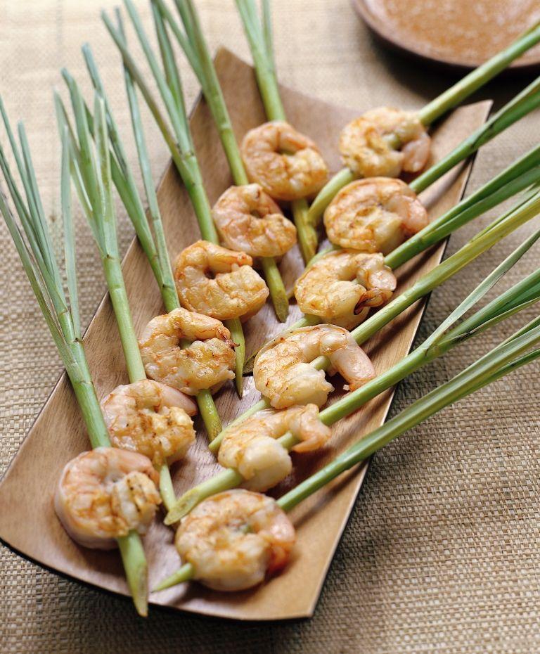 Brochetas de gambas y citronela lemongrass shrimp skewers for Brochetas de gambas