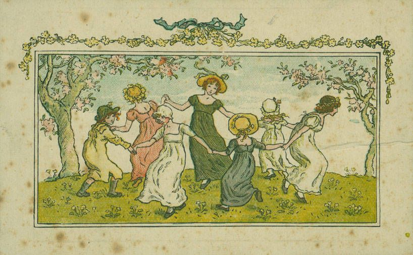 Watercolor illustration for the frontispiece in Kate Greenaway's Almanack for 1887 // de Grummond Collection's Kate Greenaway Papers // de Grummond Children's Literature Collection • University of Southern Mississippi