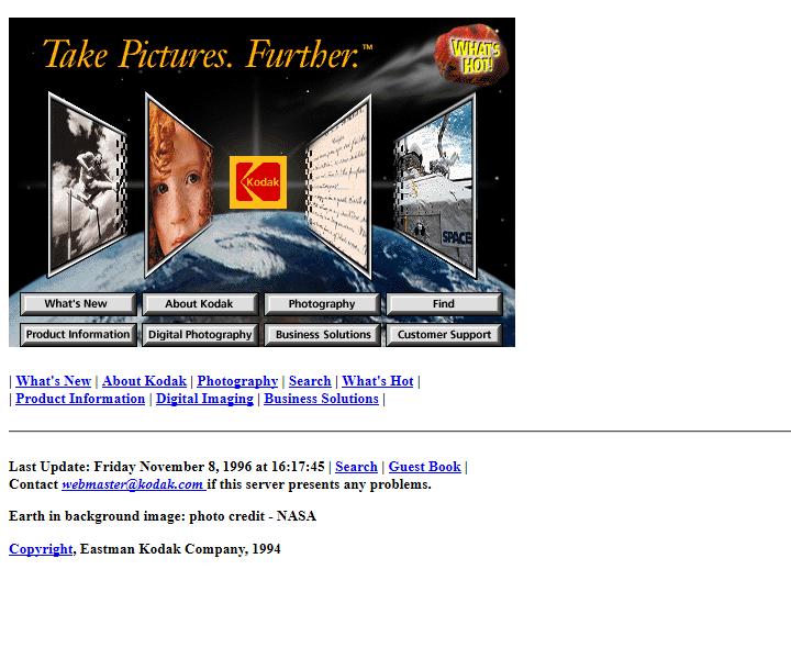 Kodak website in 1996 #webdesign #website #internethistory