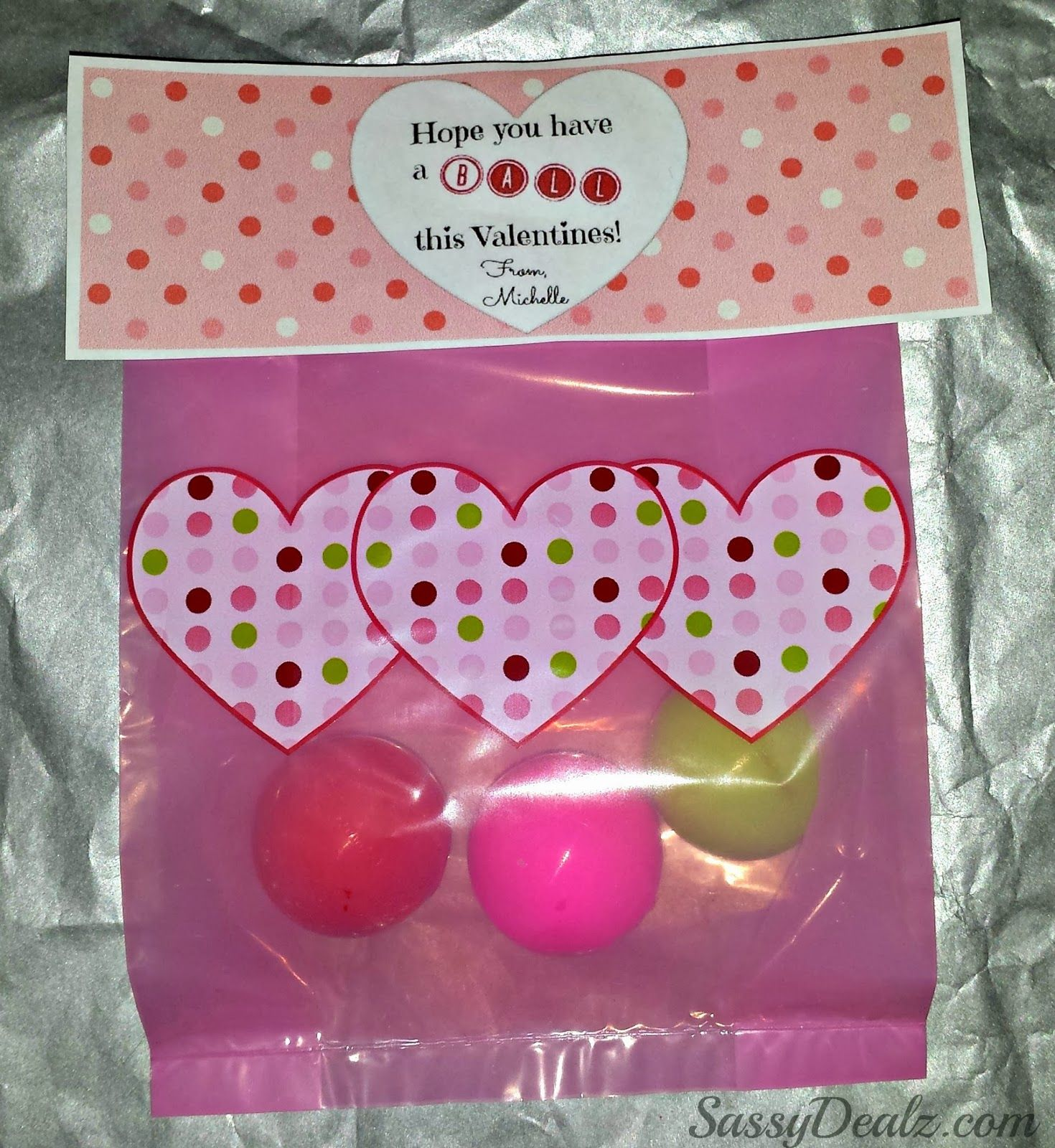 diy valentines day bouncy ball gift bag idea bouncy ball goodie bags and party bags - Valentines Goodie Bags