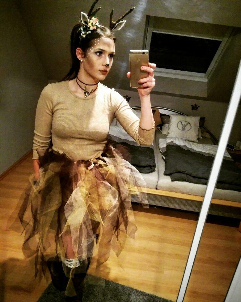 Reh Kostum Frauen Bambi Geweih Tull Selfmade Stulpen Karneval