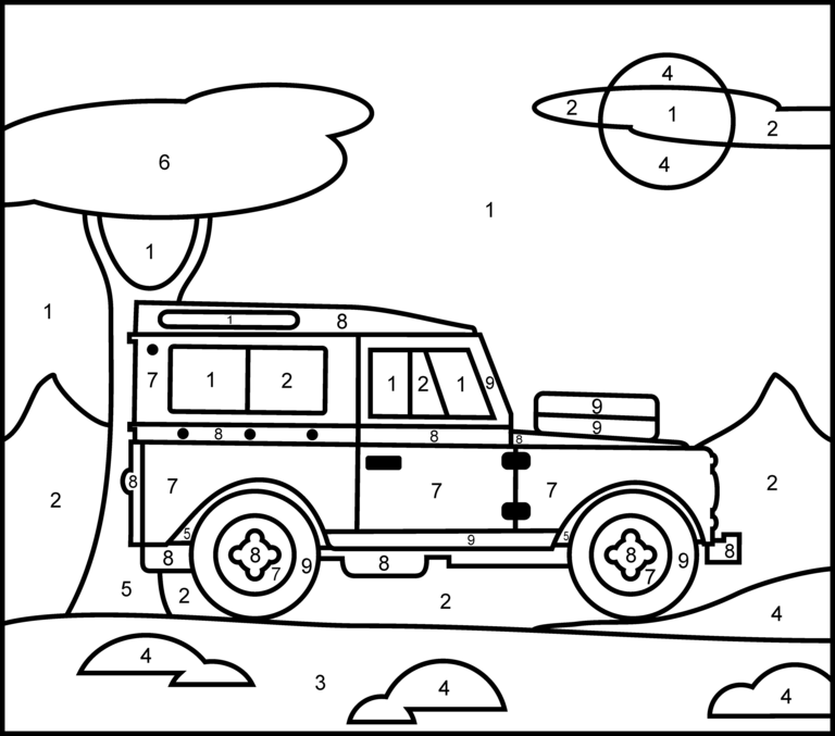 Jeep - Printable Color by Number Page | escuela | Pinterest | Escuela