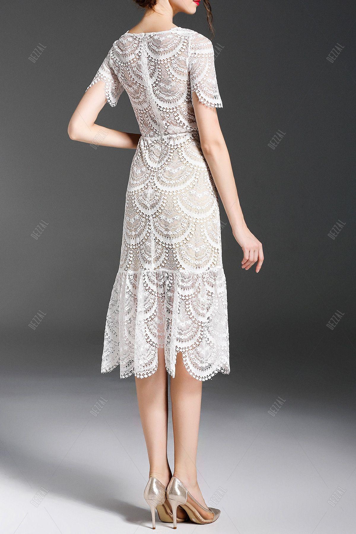 Midi Lace Trumpet Dress » Thi is so pretty!