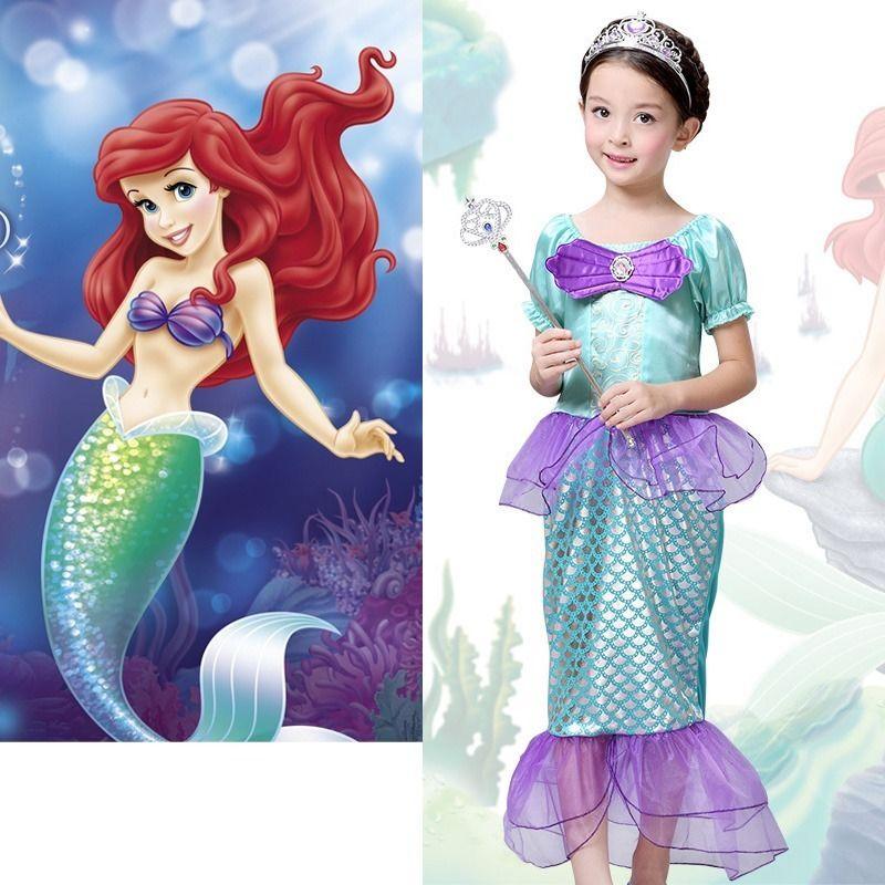 Halloween Kid Ariel Little Mermaid Set Girl Princess Dress Party Cosplay Costume