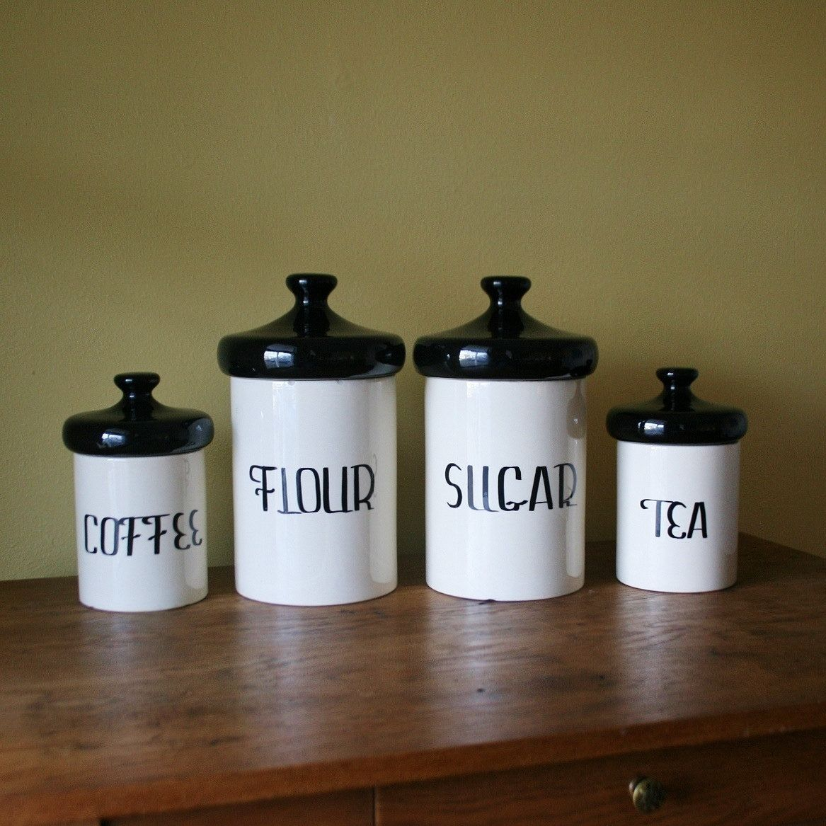 Vintage Black and White Ceramic Canister Set  Holiday