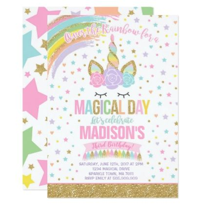 Unicorn Birthday Invitation Pink Gold Unicorn - birthday cards - format for birthday invitation